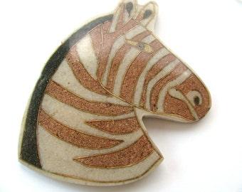 Zebra pendant, 4x3 inches, brown, black and white - #246