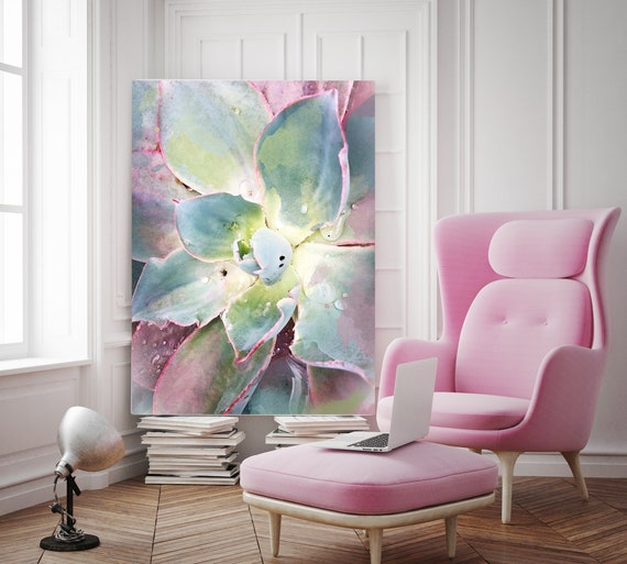 """Pink Green Succulent. Extra Large Pink Green Succulent Canvas Art Print, Tropical Canvas Art Print  up to 72"""" by Irena Orlov"""