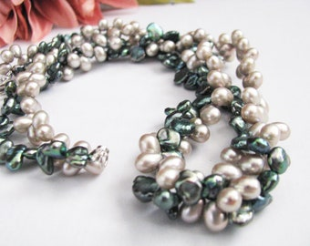 Keshi pearl necklace, Wedding Necklace, fresh water pearls, wedding jewelry, bridal jewelry, bridesmaid gift, bridal, bridal necklace