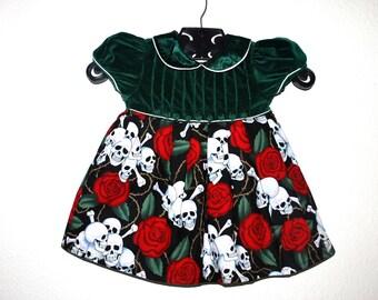Girls Rockabilly Dress in Green Velvet  Skulls, Bones and Roses ........Size 1