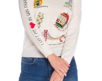 V-neck Sweater With San Francisco Embroidery Size: S/M