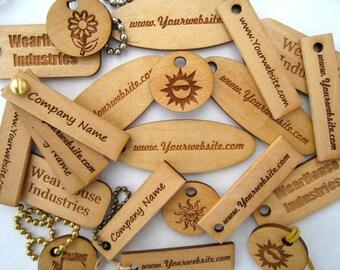 Custom Laser Engraved Pine Wood Tags   (set of 25)