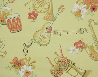 1960s Vintage Wallpaper by the Yard - Mariachi Band Musical Instruments Yellow and Orage Guitar Saxophone Drums Marachas Trumpet Flowers