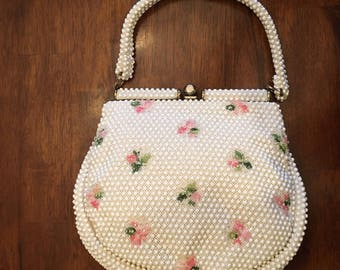 1960's Vintage Beaded White Handbag with Pink Flowers