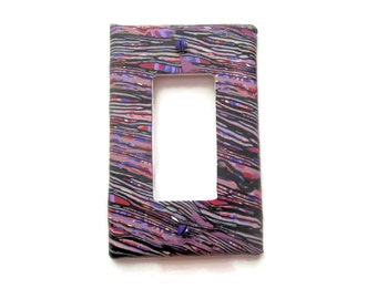 Light Switch Cover, Rocker Switch Plate, Single Switchplate in Lavender, Red and White with Black