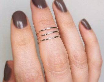 Layered Sterling Silver Knuckle ring, Stackable midi ring, Silver midi ring, Spiral knuckle ring, Twisted midi ring, Knuckle ring, Midi ring