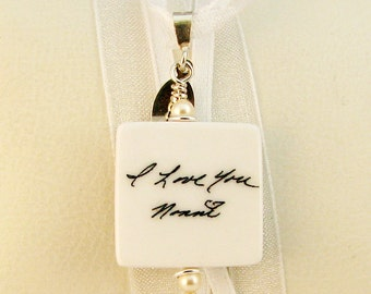 BC4F - Bridal Bouquet Memorial Photo Charm With Double Ribbons - Custom Bouquet Jewelry