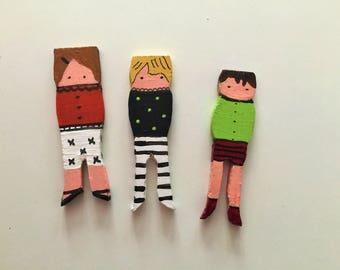 Clothepins dolls : 3 boys