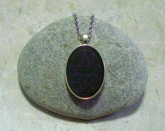 Necronomicon Necklace Black And Bluish Purple