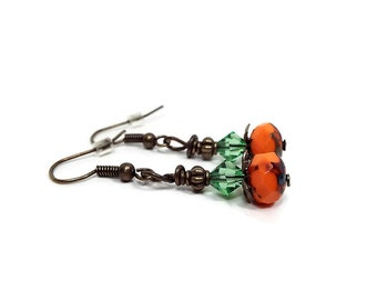 Halloween Earrings, Orange and Green, Antiqued Brass, Vintage Style, Fall Autumn,  Lever Back Hook