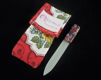 Crystal glass nail file with clay handle and handmade case red floral vintage fabric