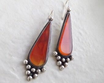 Vintage STERLING Carnelian EARRINGS Long Boho Mexican Drops Monarch Butterfly Wing Colors, Womens GEMSTONE Jewelry c.1970's