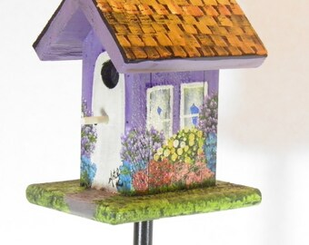Rustic Lilac Cedar Birdhouse Plant Poke , Painted with a Lot of Flowers