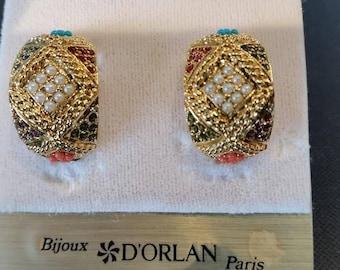 D'Orlan Buried Treasure Pierced Earrings.  Swarovski crystals.  Triple 22kt gold