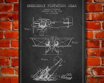 1931 Emergency Flotation Gear Patent, Canvas Print, Wall Art, Home Decor, Gift Idea