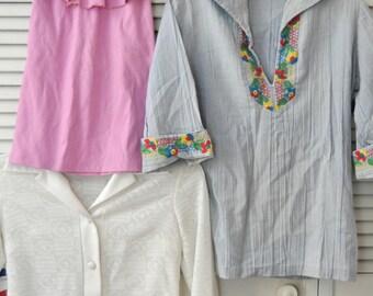 Vintage 70s 80s Womens Juniors Shirts Destash Value Bundle Hippie Blue Lavender Halter Lightly Sheer White XS-Small-Med Blouse Bundle of 3