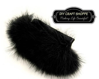 Black feathers, 1 foot of Black Marabou Feather Trim, Black Marabou Feathers, Marabou feathers attached to satin ribbon, Black Feathers