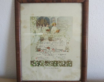 Antique Wedding Certificate 1911 Framed Vintage Wallhanging Jerrad and Shieks Wisconsin