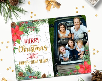 Custom Photo Christmas Jigsaw Puzzle Card Family Merry Christmas Puzzle Holiday Gift Idea Personalized Photo Christmas Puzzle Cards 2017