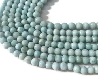 """5MM LARIMAR SMOOTH Round Beads , AAA Quality , Length 16"""" Good Quality beads"""