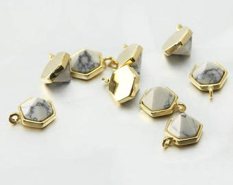 Howlite Gemstone Pendant . Jewelry Craft Supplies . Polished Gold Plated over Brass  / 2 Pcs - DG052-PG-HW
