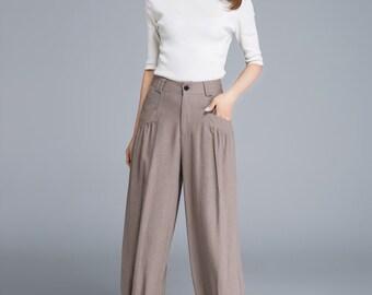 Linen casual pants, linen pants, maxi pants, made to order, baggy pants, woman pants, gift ideas, spring pants, linen clothing  1665