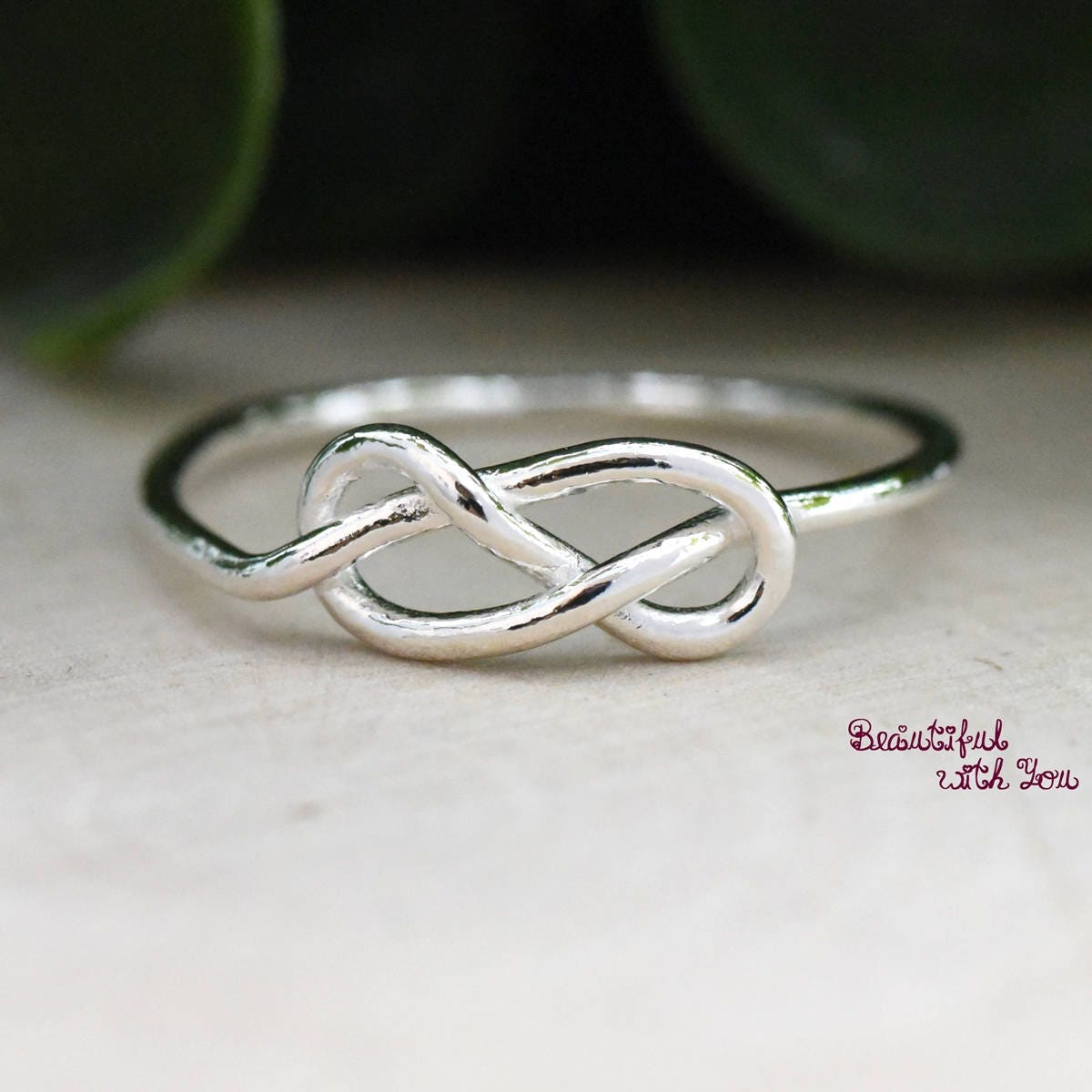 Simple Silver Wire Knot Ring Anniversary Promise Ring for Her