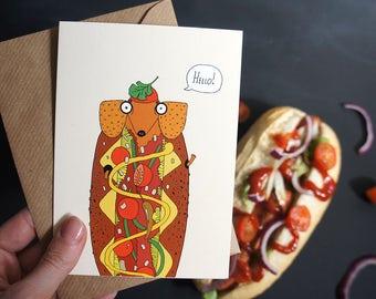 Sausage Dog Card, Hello, Funny Dachshund, Cute Hot Dog Card