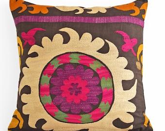 Suzani Embroidered Pillow Cover 16x16, Suzani throw pillow covers,Uzbek suzani pillows, Pillow Cover, Suzani Throw Pillows, Suzani pillow