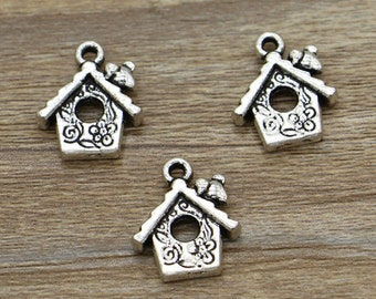 20pcs House Charms Bird House Charms Antique Silver Tone 17x15mm cf1603