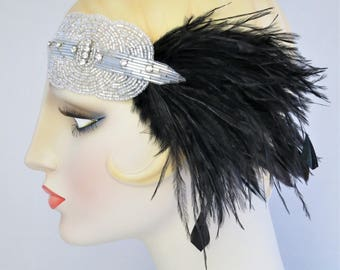 Silver And Black Deco Feather Headband