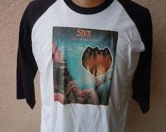 Size XL (48) ** Dated 1976 Styx Shirt (Deadstock Unworn) (Single Sided) (Screen Stars) xli0C