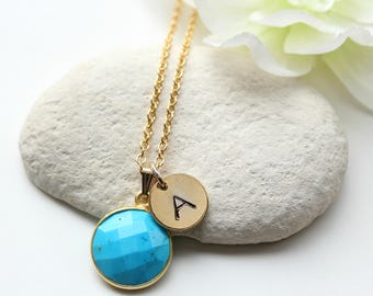 Gold Turquoise Necklace - Personalised Initial Necklace - December Birthstone Necklace Jewelry Jewellry -  Turquoise Jewellery Jewelry -B73