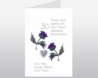Scottish Pearl Wedding Anniversary Card Thistle WWWE22