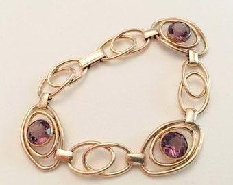 Art Deco Jewelry, Vintage Jewelry, Sturdy Brand Bracelet, Purple Rhinestone Minimalist Bracelet, June Birthstone, 20s 30s Art Deco Bracelet