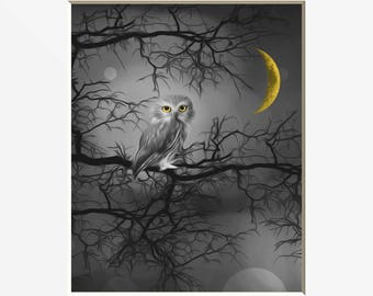 Black White Yellow Wall Pictures, Yellow Moon, Owl On Tree Branch, Yellow Gray Home Decor Matted Picture