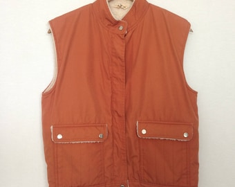 1980s terra cotta fleece lined vest by YOUNG FASHION