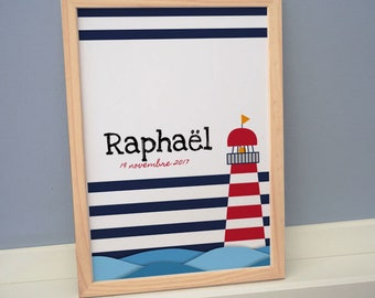 Poster / frame Lighthouse seaside baby / baby boy - personalized A4