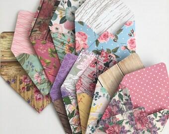 Patterned envelopes handmade wedding floral