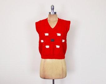 Vintage 70s Red Black Sheep Sweater Vest Lamb Sweater Jumper Sleeveless Sweater Hand Knit Sweater Wool Sweater 70s Sweater Women S Small