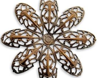 2 Pieces Passion Flower Petal Filigree by Vintaj Natural Brass Item F400