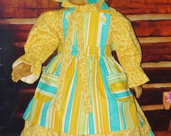 années 1850 robe de jour, tablier, Bonnet et culotte bouffante - s'adapte à Kirsten poupée American Girl