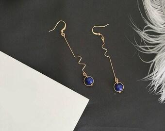 Gold Asymmetrical Blue Pearl Hook Dangle Earrings Korean Fashion