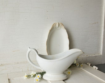 Antique Gravy Boat - White Ironstone - Farmhouse Style Kitchen Dining Room Decor - Shabby Country Chic - Instant Collection