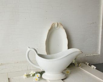 Saucière ancienne - Ironstone blanc - décor de salle à manger cuisine de ferme Style - campagne Shabby Chic - Collection instantanée