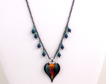 Teal and Orange Lampwork Necklace, Glass Beads Necklace, Gifts, Career Wear, Fashion Jewelry, Mother's Day
