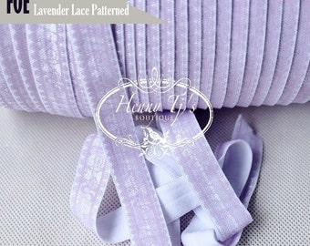 """White / LAVENDER LACE Patterned Fold Over Elastic Shabby Printed. foe - 5/8"""" foe 2, 5 or 10 Yards. DIY Headband Supplies"""