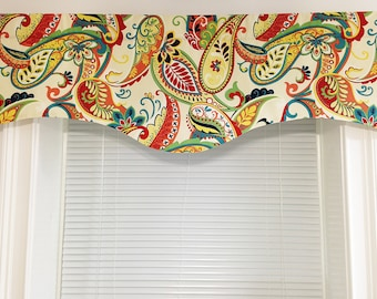 Scalloped Valance 52 x 16 50x 16 lined window valance decorative valance Whimsy Paisley Mardi Gras Multi red ivory green Kitchen Valance