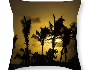 Tropical Sunset Throw Pillow/Pillow Cover. Palm Tree Throw Pillow. Orange Outdoor Pillow. Tropical Home Decor Palm Tree Outdoor Seat