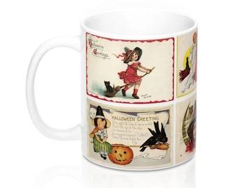 Vintage Halloween Witch Postcards Graphic Coffee Mug 11 or 15 oz (#2)